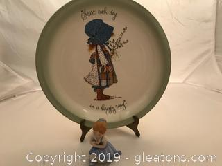 Vintage Holly Hobby plate and figure