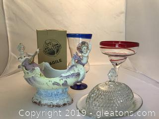 Depression glass diamond cut butter dish, dragon boat with cherub and lady , Bubba Gump glass