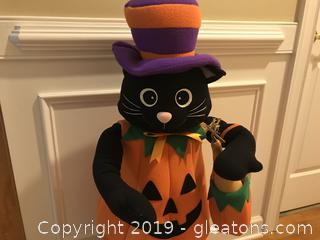 "Black cat dressed as a pumpkin 41"" tall"