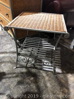 Wicker Top Side Table with Metal Shelf Details