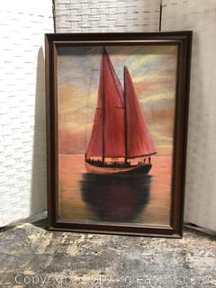 Original Signed Sailboat Painting