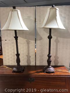 Pair of Metal Candlestick Lamps Similar in Style