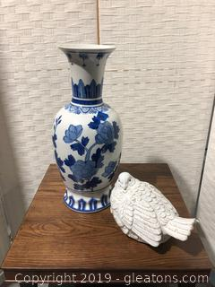 Ceramic Vase And Bird