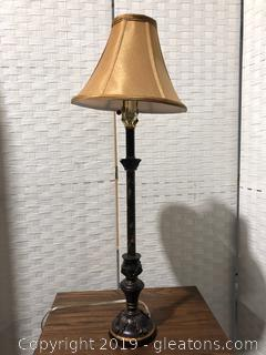 Candlestick Lamp With Painted Detail
