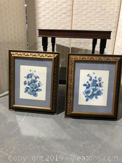 2 Floral Art Pieces by Carolyn Shores Wright