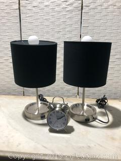Pair of Modern Lamps with Retro Inspired Clock