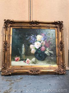 Original Signed Floral Still Life Oil Painting