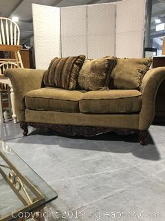 Chenille Loveseat with Decorative Pillows