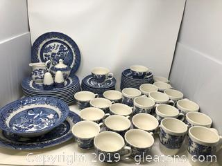 Wessex Collection Blue Willow Dinnerware Set
