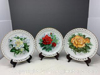 "3 ""American Spirit"" Rose Garden Collector Plates"