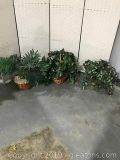 3 Baskets of Artificial Greenery