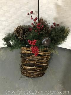 Christmas Arrangement in Rustic Basket