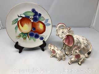 Hand Painted Elephant and Plate