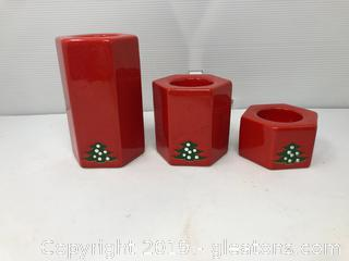 Vintage Ceramic Waechtersbach  Christmas Tree Candle Holders