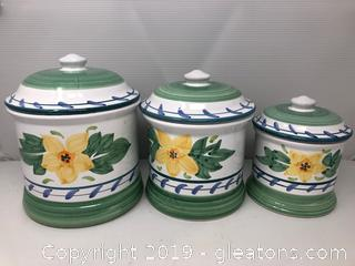 Hand Painted Canister Set of 3