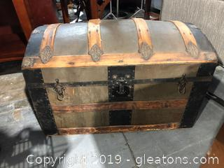 Antique Camel Back Steamer Trunk
