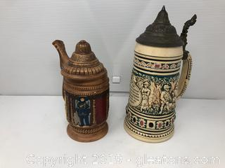 2 Lidded Beer Steins B