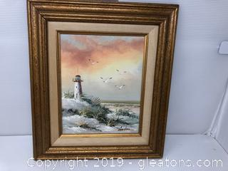 Framed Oil Painting Lighthouse