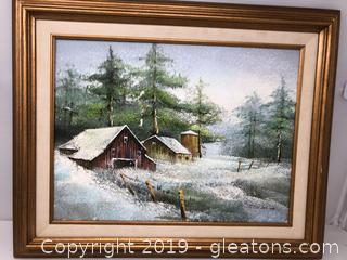 Framed Textured Oil Painting Signed Winter Scene