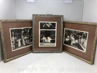 3 Framed Vintage Look Photographs