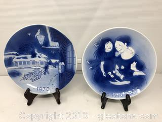 2 Old Copenhagen Blue Svent Jensen of Denmark Collector Plates
