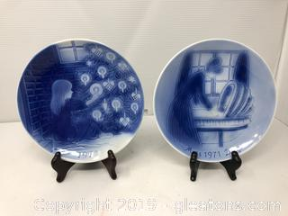2 Old Copenhagen Blue Svend Jensen of Denmark Collector's Plates