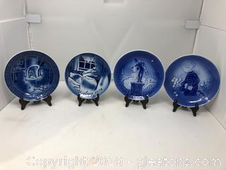 4 1974 Collector's Plates 20 Id Copenhagen Blue, 2 Georg Jensen