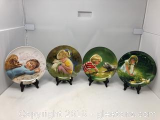 4 Collector's Plates in the Children & Pets Series