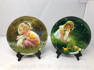 2 Collector's Plates in the Children & Pets Series