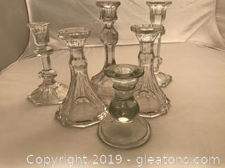 6 vintage glass crystal candle holders