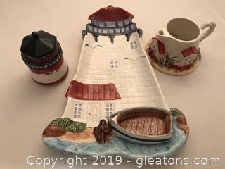 Light house chip and dip tray, lidded jar and little pitcher included