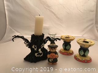 Glow in the dark scary tree candle holder bear figure