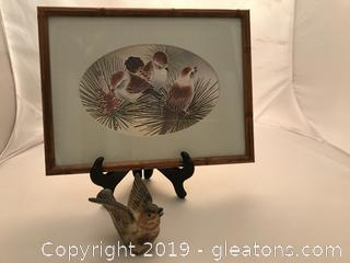 Hand painted bird picture and little brown bird figure