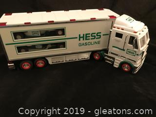 Hess truck two race cars inside
