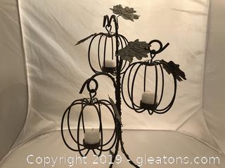 Wrought iron Pumpkin votive candle holder center piece