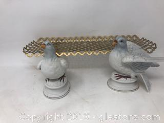 Small Gold Wall Shelf 2 Enesco Japan Doves