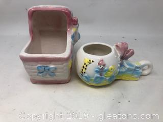 2 Vintage Baby Vases
