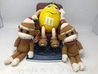 2 Ty Sock Monkeys & A M&M Dispenser