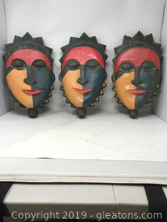 3 Wooden Masks - Art