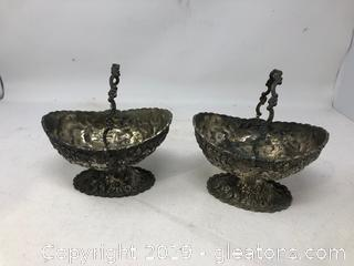 2 Silver Plate Over Copper Baskets