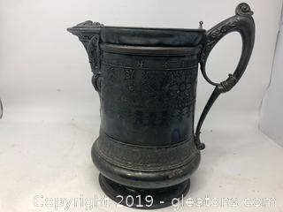 Very Ornate Meriden Silver Plated Pitcher with white Enamel Interior