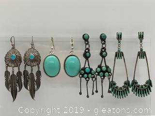 Sterling and Turqouis Earring Collection C