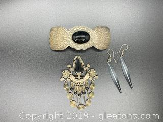 Silver and Black Southwestern Jewelry Lot