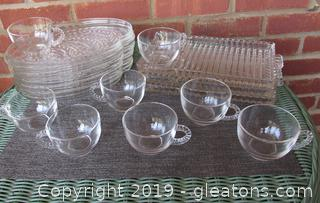 Vintage Mix and Match Snack Set Pieces Federal Glass Hospitality Snack (7)  Plates & (8) Cups Homestead Wheat Pattern & (3) Candlewick Snack Plates
