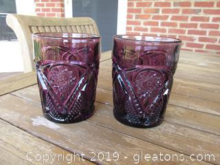 Pair of Amethyust Pressed Glass Tumblers