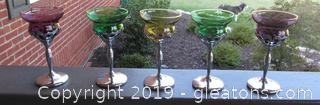 5 Steel & Blown Glass Wine Glasses / 2 Amethyst 2 Emerald  1 Yellow