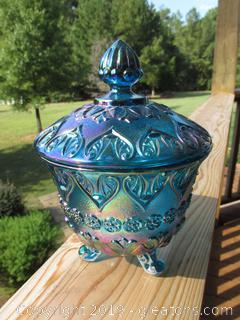 Fenton Teal / Blue Carnival Glass 3 legged Candy Dish with Lid 2000