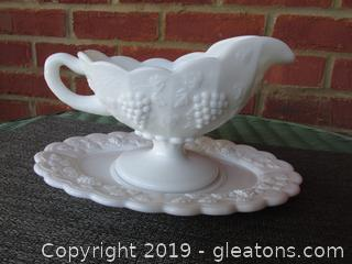 Westmoreland Milk Glass Paneled Grape Gravy Boat with Under Plate