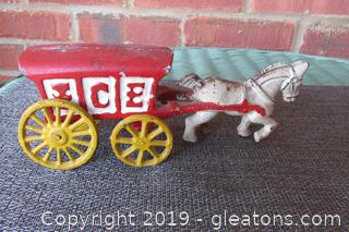 Old Vintage Cast Iron Horse Pulling a Ice Wagon / Rolls Nice
