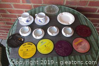 2 Romana Sambuca Espresso Coffee Cups & Saucers, 4 Fukagawa Personal Ashtrays, 6 Vinylux vintage LP Coasters, White Ceramic Ashtray